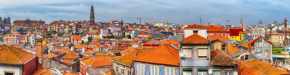 European Travel Destinations. Variety of Red Rooftops of Porto City in Portugal.