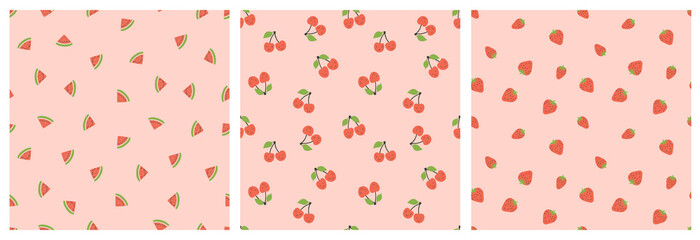 Kid's seamless pattern. Smiling watermelon, cherry and strawberry. Exotic fruit fashion print. Design elements for baby textile or clothes. Hand drawn doodle repeating delicacies. Tropical wallpaper