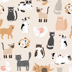 Kitty seamless pattern. Color cute cats vector background, colorful kittens texture for animals baby fabric design