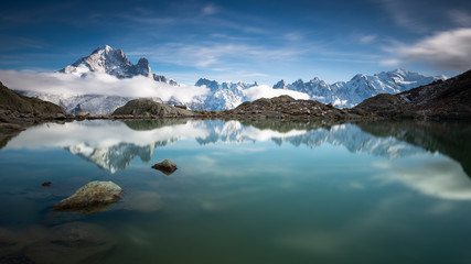 Panorama of Lac Blanc and Mont-Blanc-Massif, France