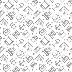 Home interior and decor related seamless pattern with outline icons