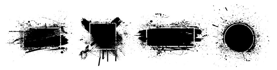 Black splashes grunge with frame. Dirty artistic design elements, boxes, frames for text. Black splashes isolated on white background. Set of black paint, ink brush strokes, brushes, lines. Vector
