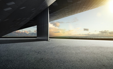 Empty floor ground with modern building rooftop