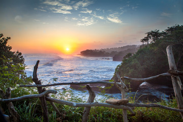 scenic sunset at balian westcoast of bali indonesia
