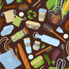 Recyclable food and accessories, kitchen items seamless pattern