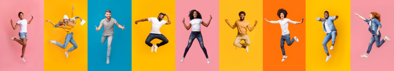 Collage of positive multiracial young people jumping over colorful backgrounds