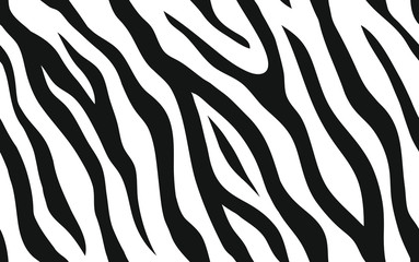 Zebra stripes seamless pattern. Tiger stripes skin print design. Wild animal hide artwork background. Black and white vector illustration.