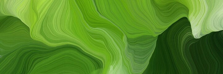 horizontal banner with waves. modern waves background illustration with dark green, olive drab and very dark green color