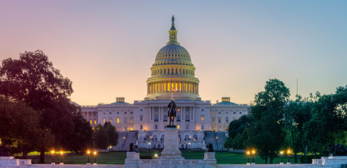 Panoramic image of the Capitol of the United States in morning light.
