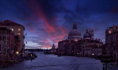 Grand Canal and Santa Maria della Salute in the twilight, Venice, Italy