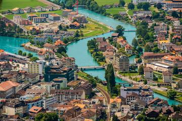 Aerial landscape of Interlaken city