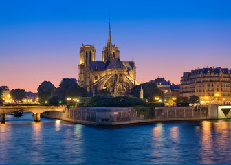 Notre Dame cathedral and Seine river at night