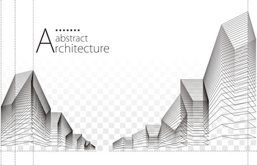 3D illustration architecture building construction perspective design, abstract urban background.