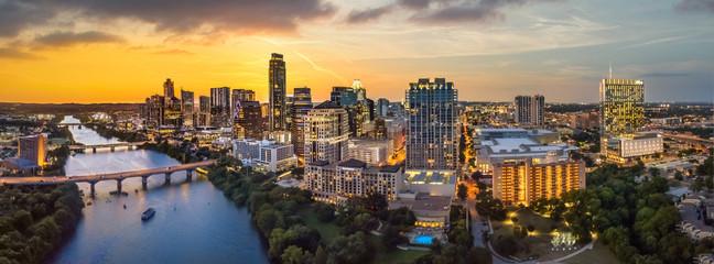 Austin Texas skyline with sunset