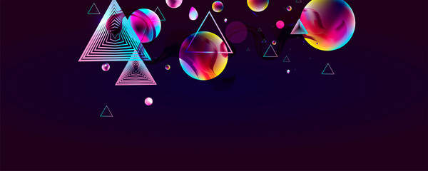 Dark retro futuristic art neon abstraction background cosmos new art 3d starry sky glowing galaxy