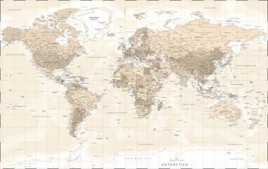 World Map - Vintage Retro Old Style - Vector Detailed Illustration