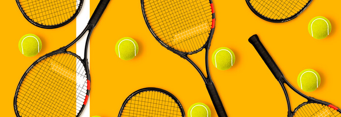 Tennis racket balls on yellow background