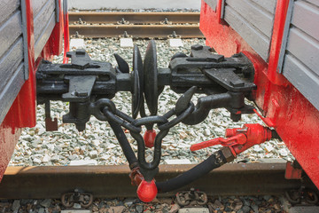 Coupling device of the cargo wagon of the old narrow-gauge railway