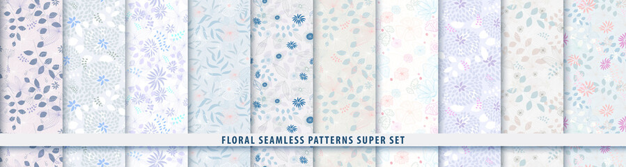 Floral seamless blue pattern bundle set. Flowers and leaves.. Color vector background. Summer and spring print