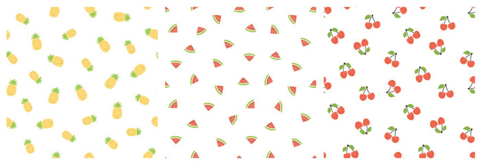 Kid's seamless pattern. Smiling pineapple, watermelon, cherry. Exotic fruit fashion print. Design elements for baby textile or clothes. Hand drawn doodle repeating delicacies. Cute wallpaper