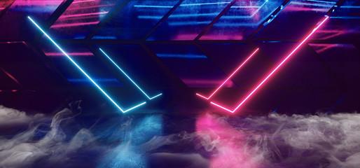Smoke Sci Fi Phantom Purple Blue Pillars Glowing Led Neon Lights Blue Vibrant Dark On Abstract Concrete Texture Garage Underground Grunge 3D rendering