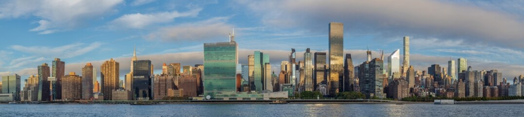 View of the East Side of Manhattan skyline from Long Island City in the morning.