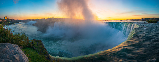 Sunrise at Niagara Falls. View from the Canadian side