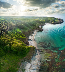 aerial paradise coast view with sunset