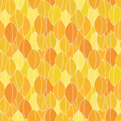 Seamless pattern with hand drawn orange leaves