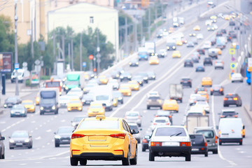 day traffic traffic jam in the city on the highway cars / transport concept, city traffic metropolis view landscape