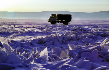 Car on the ice of Lake Baikal.