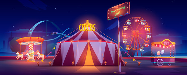 Amusement park at night. Carnival circus tent, ferris wheel, roller coaster, carousel and candy cotton booth with glow illumination. Festive fair entertainment attractions. Cartoon vector illustration
