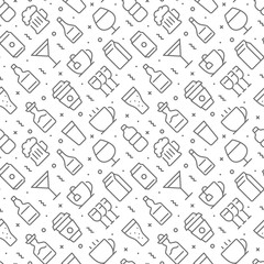Beverages related seamless pattern with outline icons