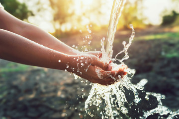 Water pouring on hand in morning ligth background