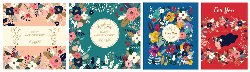 Floral collection of cards, invitations, posters. Valentines Day greetings. Set of Valentines day cards. Vector illustration of girl in love. Flyer, card, banner, brochure