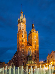 St. Mary Church with two towers by night, Krakow, Poland