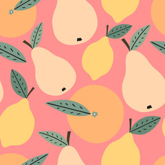 Hand drawn fruits seamless pattern for print, textile, fabric. Trendy kids fruits background. Lemon, orange and pears background.