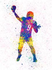 American football player 02 in watercolor