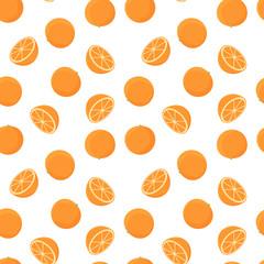 Oranges seamless pattern. Vector background.