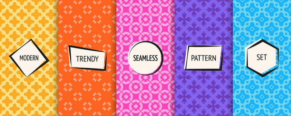 Geometric seamless patterns collection. Vector set of colorful floral background swatches with modern minimal funky labels. Cute abstract textures in bright colors, yellow, orange, pink, purple, blue