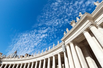 Low angle shot of the famous St. Peter's Basilica in Vatican City under the bright sky