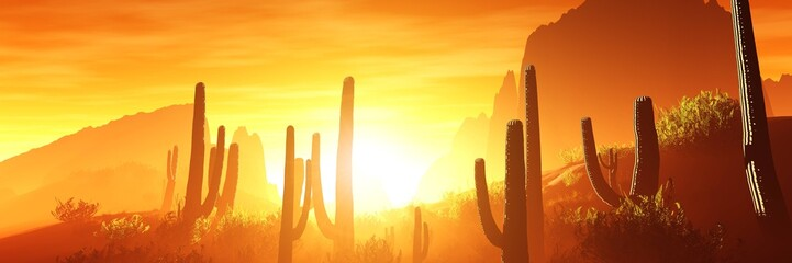 Arezona with cacti at sunset, 3D rendering.