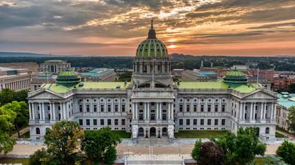 Capitol in Harrisburg, Pennsylvania in sunrise, aerial panoramic view