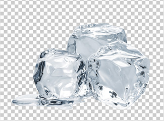 Melting ice cube isolated on checkered background including clipping path
