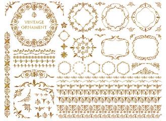 Vintage ornament set. Metallic golden pattern.