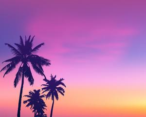 Dark palm trees silhouettes on light pink sunrise sky background, vector illustration