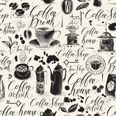 Vector seamless pattern on the coffee theme in retro style. Abstract background with kitchen items, stains and handwritten inscriptions. Suitable for wallpaper, wrapping paper or fabric