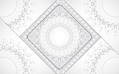 Luxury white background with mandala style shapes a combination silver ornament decoration. Elegant vector design template for cover, banner, wedding invitation, card, business, advertising, wallpaper