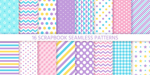 Scrapbook seamless pattern. Vector. Cute chic backgrounds. Set textures with polka dots, stripes, zigzag, hearts, check and stars. Retro print. Pastel illustration. Geometric trendy color backdrop.
