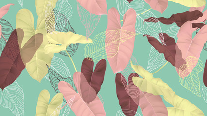Foliage seamless pattern, colorful Philodendron burle marx plant and leaves line art ink drawing on blue